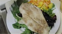 Orange Roughy Spring Mix Salad of mangos and oranges