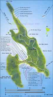 Southern Thailand maps, map of Koh Phi Phi Don, Phi Phi Island Map