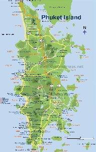 Southern Thailand maps, map of Koh Phuket, Phuket island map