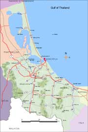 Southern Thailand maps, map of Songkhla